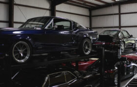 Cars on lifts at the Harick Services facility